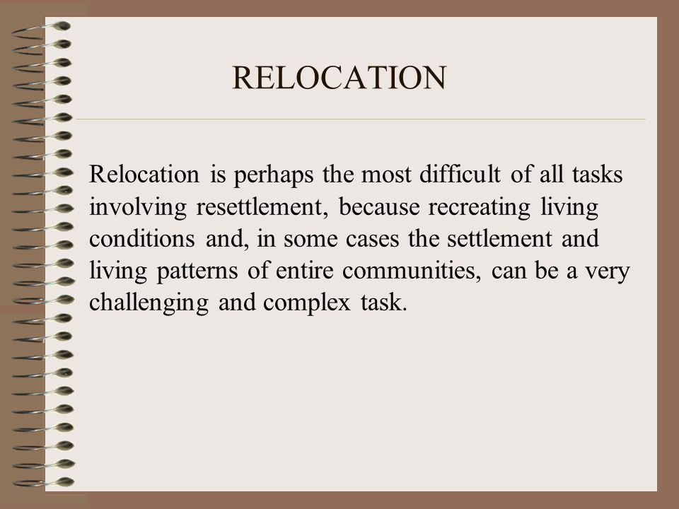 Checklist(2) Establish targets and develop relocation plans in consultation with and participation of the potential APs.