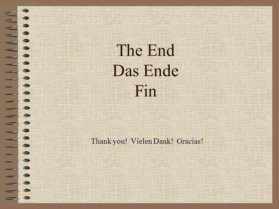 The End Das Ende Fin Thank you! Vielen Dank! Gracias!