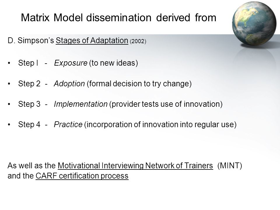 Matrix Model dissemination derived from D. Simpson's Stages of Adaptation (2002) Step I - Exposure (to new ideas) Step 2 - Adoption (formal decision t
