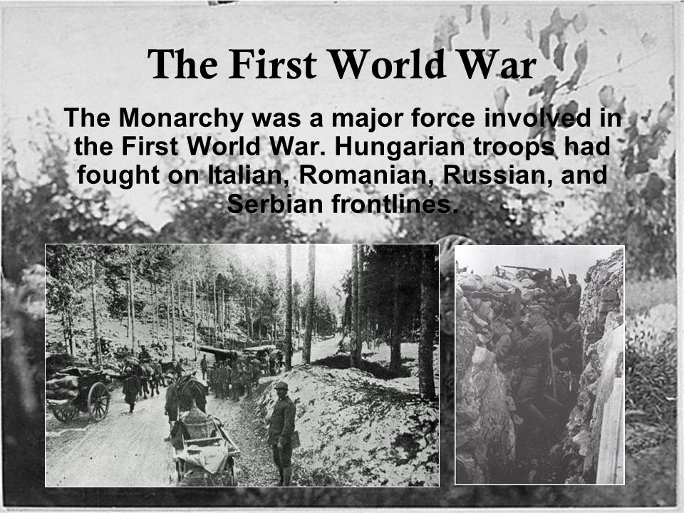 The First World War The Monarchy was a major force involved in the First World War.