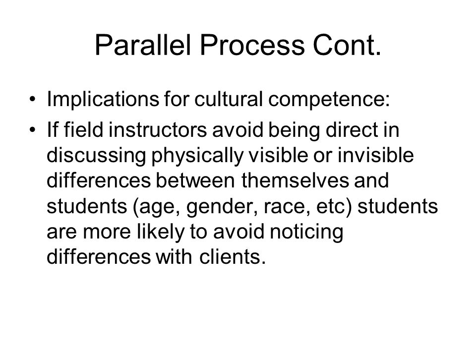 Parallel Process Cont. Implications for cultural competence: If field instructors avoid being direct in discussing physically visible or invisible dif