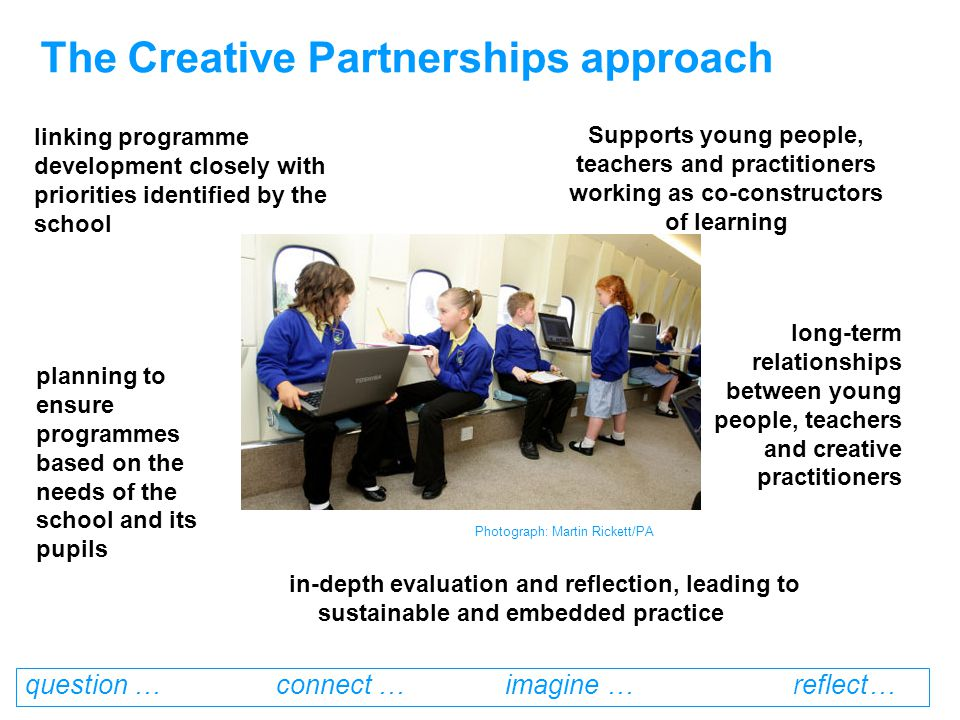 question … connect … imagine … reflect… The rise of creative education… Nurturing Creativity in Young People- Paul Roberts, 2006 Rose Review of Primary curriculum-less subject driven 14-19 Reform of secondary education- personalised learning, competency curriculum Creativity: Find it, Promote it- Qualifications & Curriculum Authority OFSTED: Learning: creative approaches that raise standards .