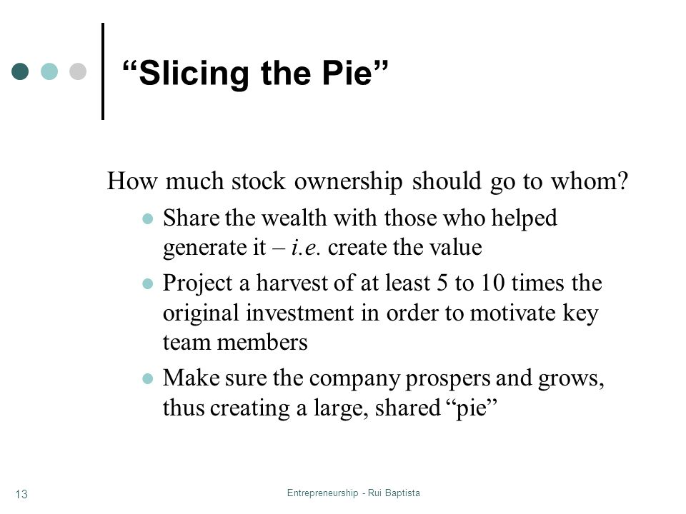 "Entrepreneurship - Rui Baptista 13 ""Slicing the Pie"" How much stock ownership should go to whom? Share the wealth with those who helped generate it –"