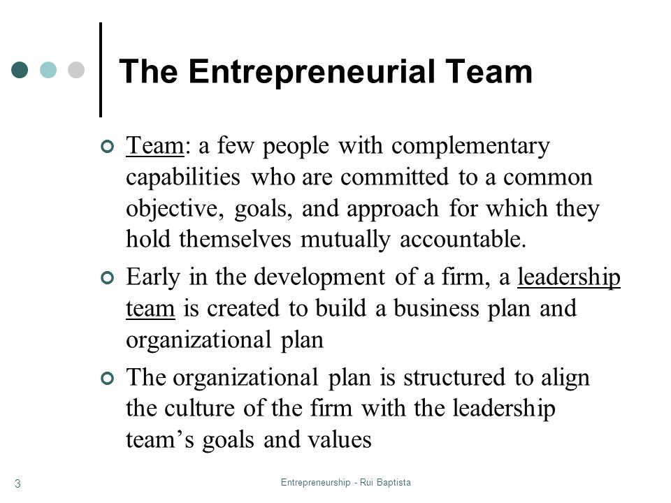 Entrepreneurship - Rui Baptista 14 Distribution Issues Differentiation Implement a reward system that recognizes differences in contributions to value creation among team members Performance Reward is a function of performance/result (as opposed to effort) Flexibility Acknowledge and reward positive changes in contributions of team members