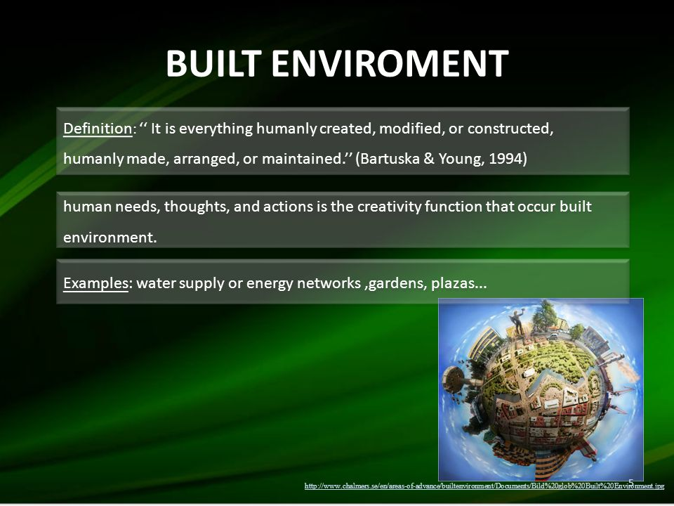 BUILT ENVIROMENT 5 Definition : '' It is everything humanly created, modified, or constructed, humanly made, arranged, or maintained.'' (Bartuska & Young, 1994) Definition : '' It is everything humanly created, modified, or constructed, humanly made, arranged, or maintained.'' (Bartuska & Young, 1994) Examples: water supply or energy networks,gardens, plazas...