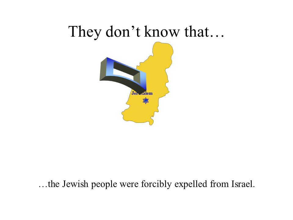  Jerusalem They don't know that… …the Jewish people were forcibly expelled from Israel.