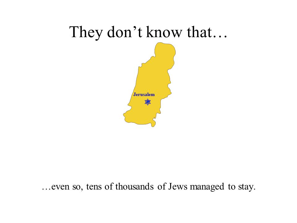  Jerusalem They don't know that… …even so, tens of thousands of Jews managed to stay.