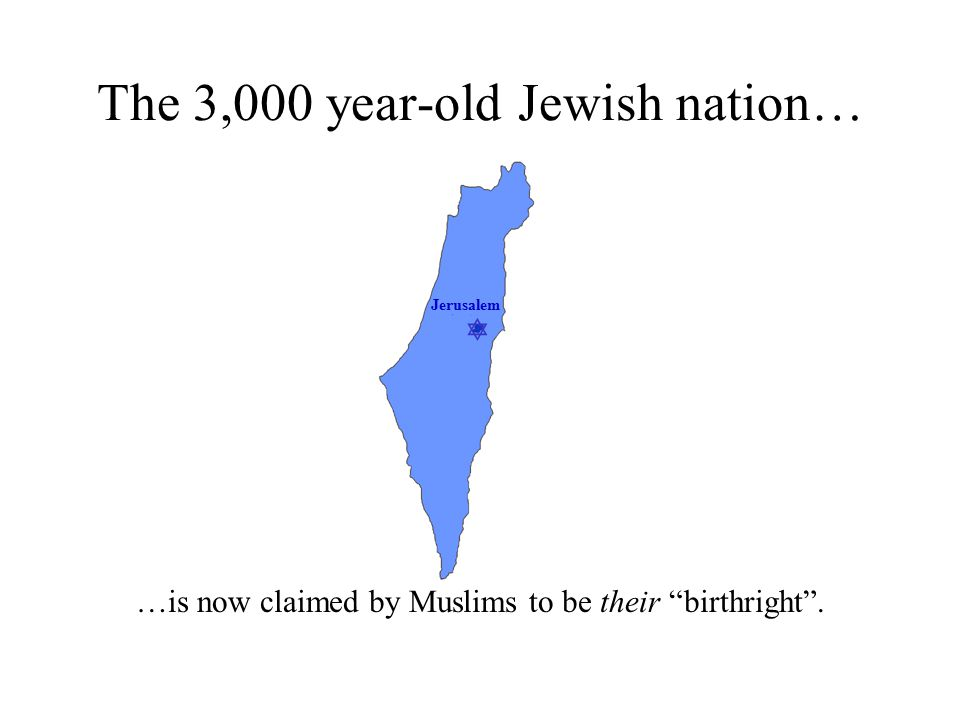  Jerusalem The 3,000 year-old Jewish nation… …is now claimed by Muslims to be their birthright .