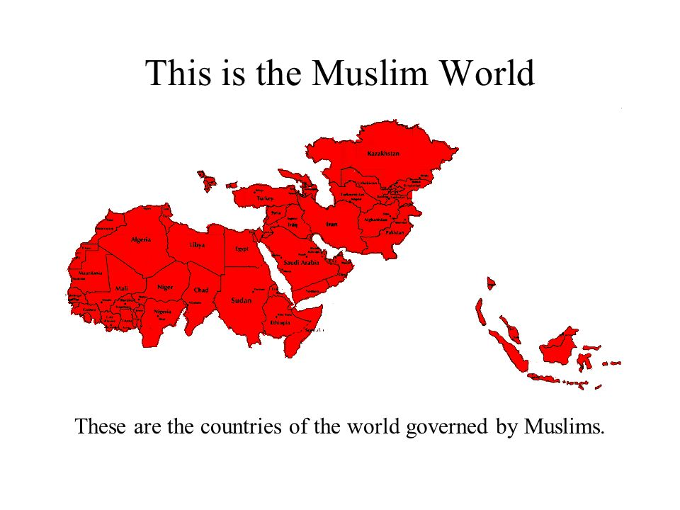 This is the Muslim World and Israel Israel is in blue – can you see it?