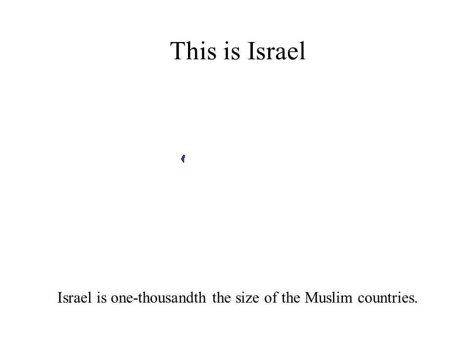 This is Israel Israel is one-thousandth the size of the Muslim countries.