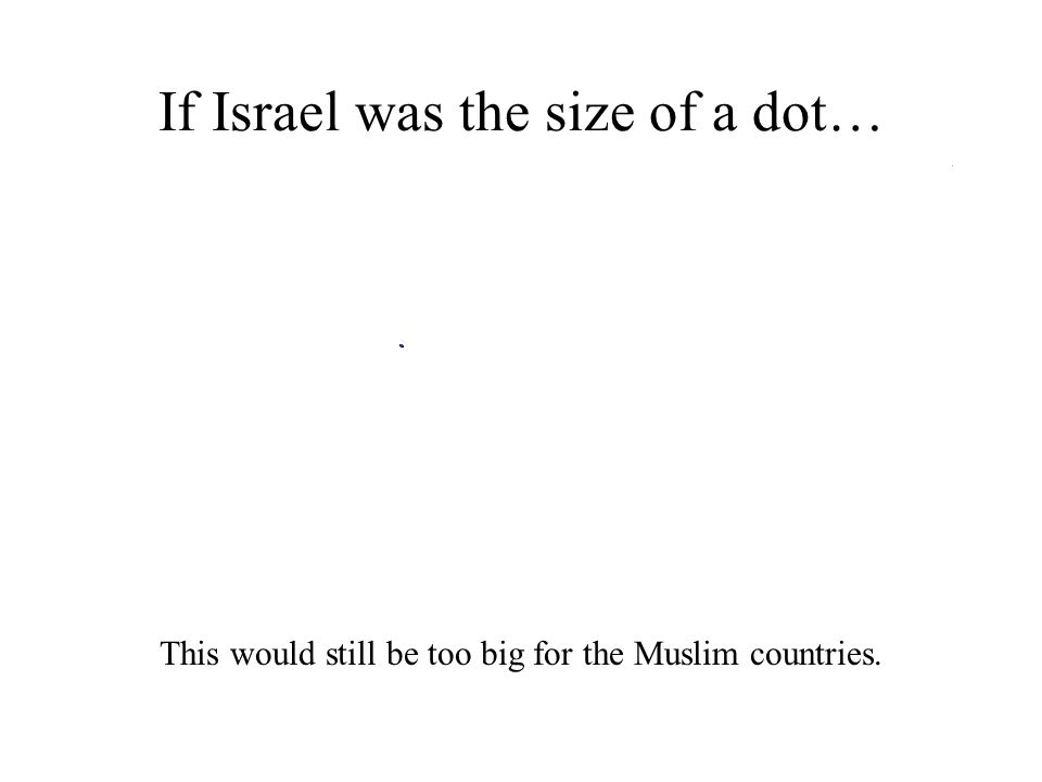 If Israel was the size of a dot… This would still be too big for the Muslim countries.