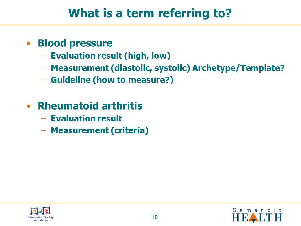 10 What is a term referring to? Blood pressure –Evaluation result (high, low) –Measurement (diastolic, systolic) Archetype/Template? –Guideline (how t