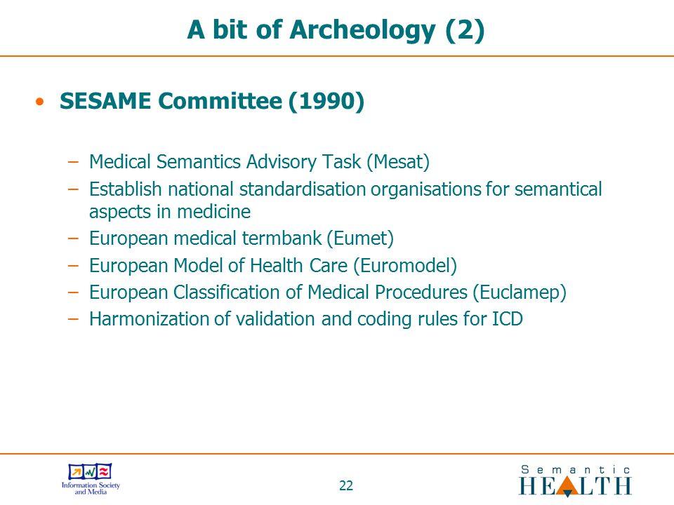 22 A bit of Archeology (2) SESAME Committee (1990) –Medical Semantics Advisory Task (Mesat) –Establish national standardisation organisations for sema