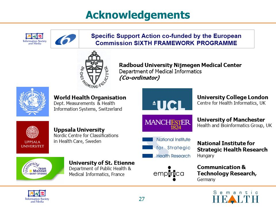 27 Acknowledgements Specific Support Action co-funded by the European Commission SIXTH FRAMEWORK PROGRAMME Communication & Technology Research, German