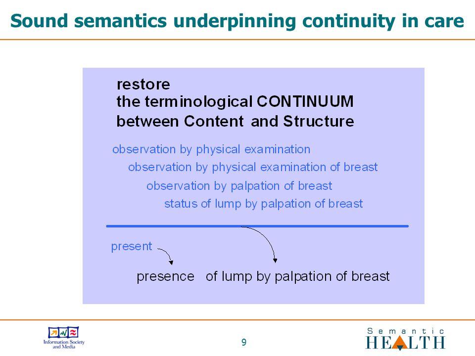 9 Sound semantics underpinning continuity in care