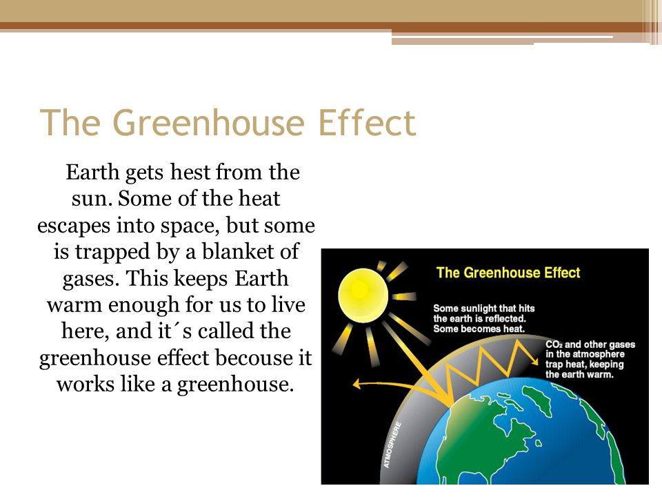 The Greenhouse Effect Earth gets hest from the sun. Some of the heat escapes into space, but some is trapped by a blanket of gases. This keeps Earth w
