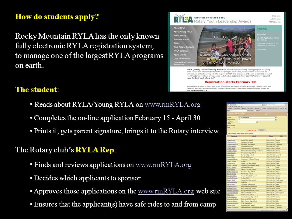 How do students apply? Rocky Mountain RYLA has the only known fully electronic RYLA registration system, to manage one of the largest RYLA programs on