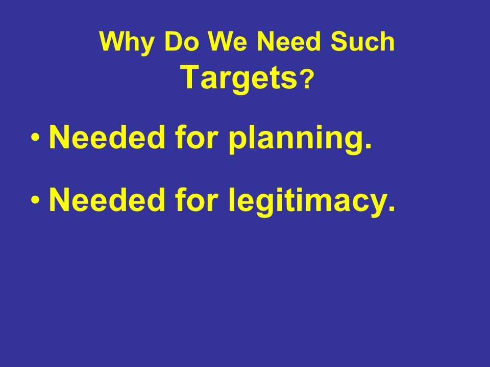 Why Do We Need Such Targets ? Needed for planning. Needed for legitimacy.