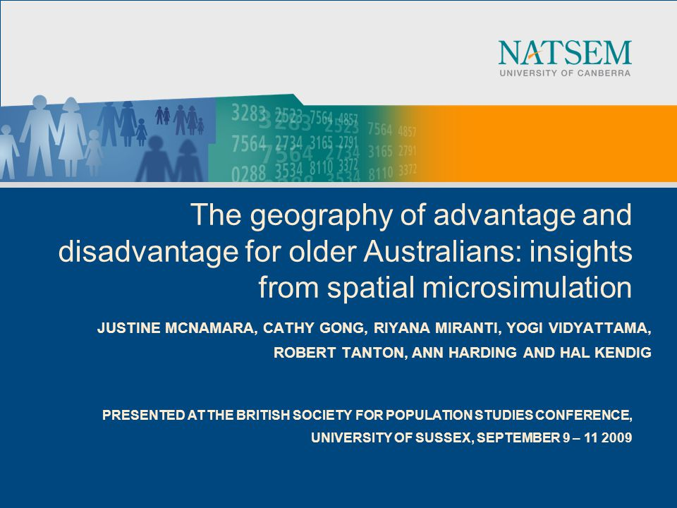 2 Acknowledgements ●This paper was funded by a Discovery Grant from the Australian Research Council (DP664429: Opportunity and Disadvantage: Differences in Wellbeing Among Australia s Adults and Children at a Small Area Level).