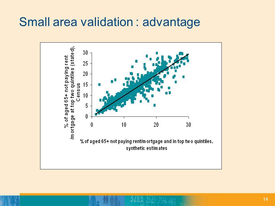 14 Small area validation : advantage