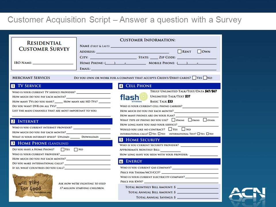 Customer Acquisition Script – Answer a question with a Survey