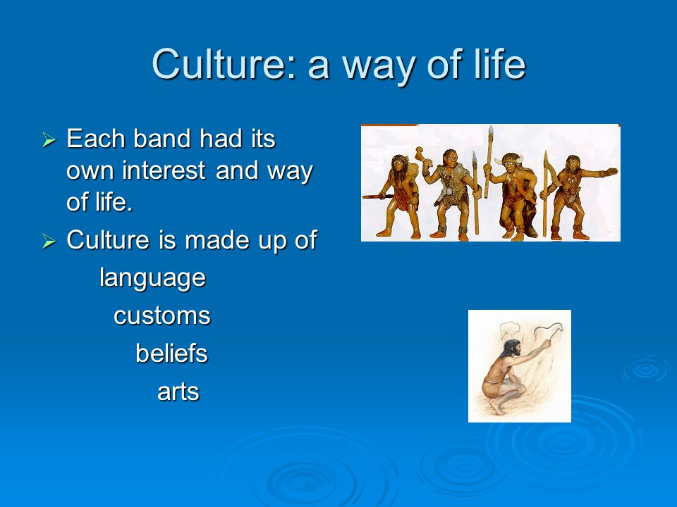 Culture: a way of life  Each band had its own interest and way of life.  Culture is made up of language language customs customs beliefs beliefs art