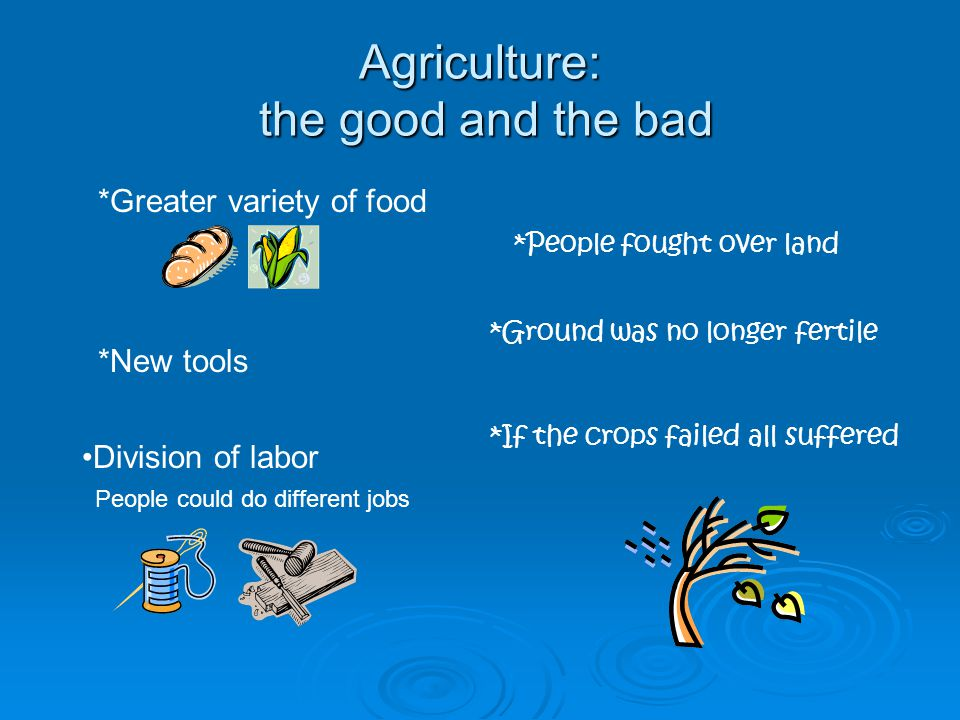 Agriculture: the good and the bad *Greater variety of food *People fought over land *Ground was no longer fertile *New tools Division of labor People could do different jobs *If the crops failed all suffered