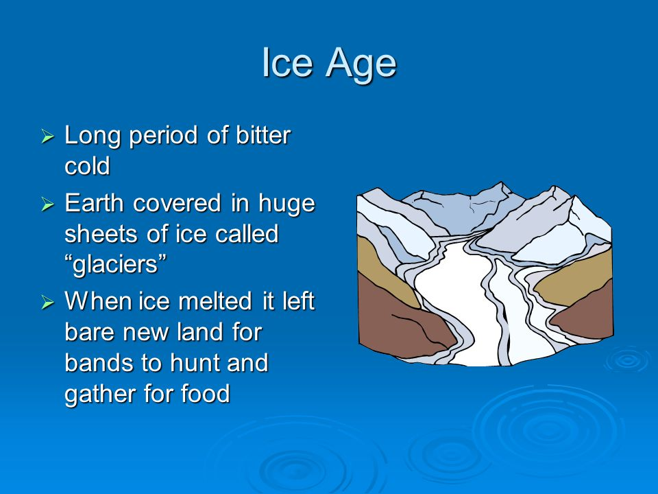 """Ice Age  Long period of bitter cold  Earth covered in huge sheets of ice called """"glaciers""""  When ice melted it left bare new land for bands to hunt"""