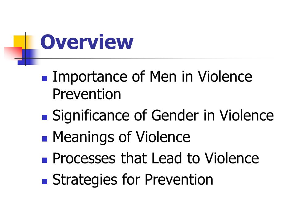 Overview Importance of Men in Violence Prevention Significance of Gender in Violence Meanings of Violence Processes that Lead to Violence Strategies for Prevention