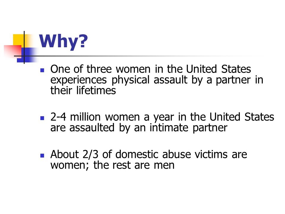 Why? One of three women in the United States experiences physical assault by a partner in their lifetimes 2-4 million women a year in the United State