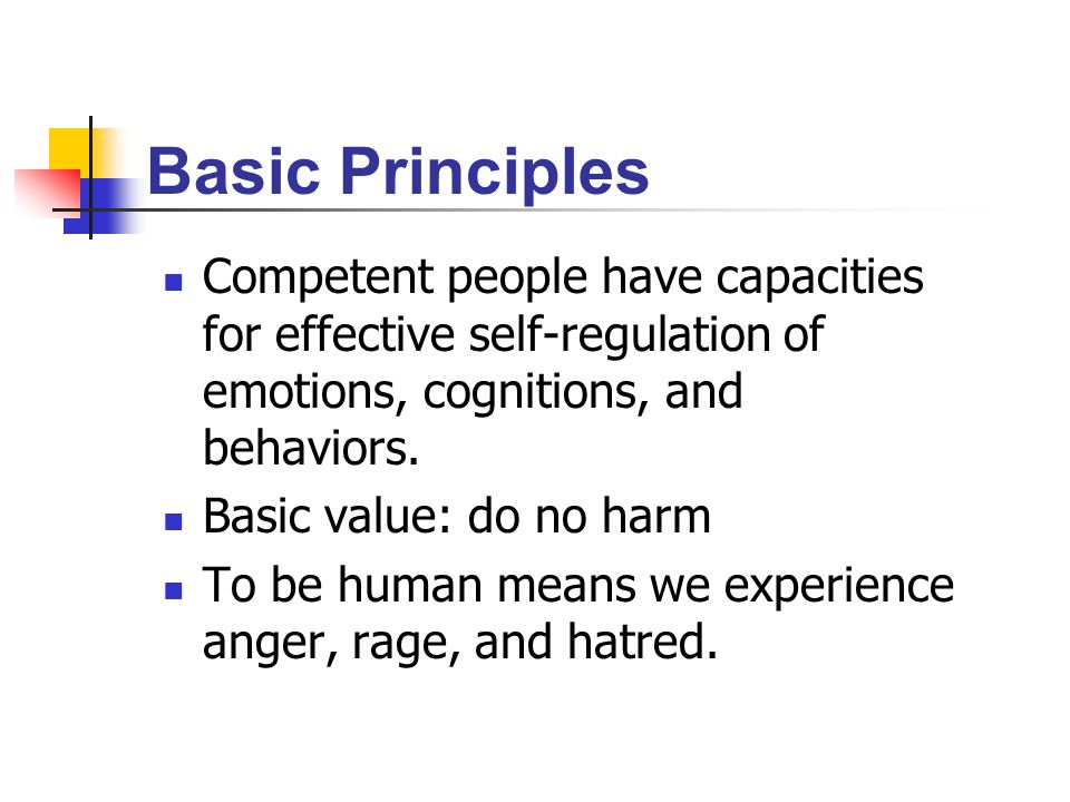 Basic Principles Competent people have capacities for effective self-regulation of emotions, cognitions, and behaviors.