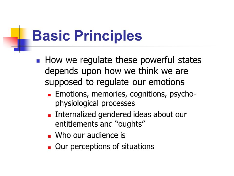 Basic Principles How we regulate these powerful states depends upon how we think we are supposed to regulate our emotions Emotions, memories, cognitions, psycho- physiological processes Internalized gendered ideas about our entitlements and oughts Who our audience is Our perceptions of situations
