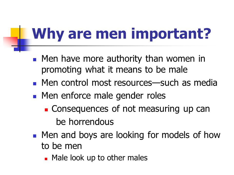 Why are men important? Men have more authority than women in promoting what it means to be male Men control most resources—such as media Men enforce m