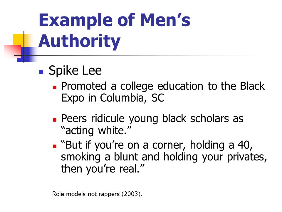 Example of Men's Authority Spike Lee Promoted a college education to the Black Expo in Columbia, SC Peers ridicule young black scholars as acting white. But if you're on a corner, holding a 40, smoking a blunt and holding your privates, then you're real. Role models not rappers (2003).