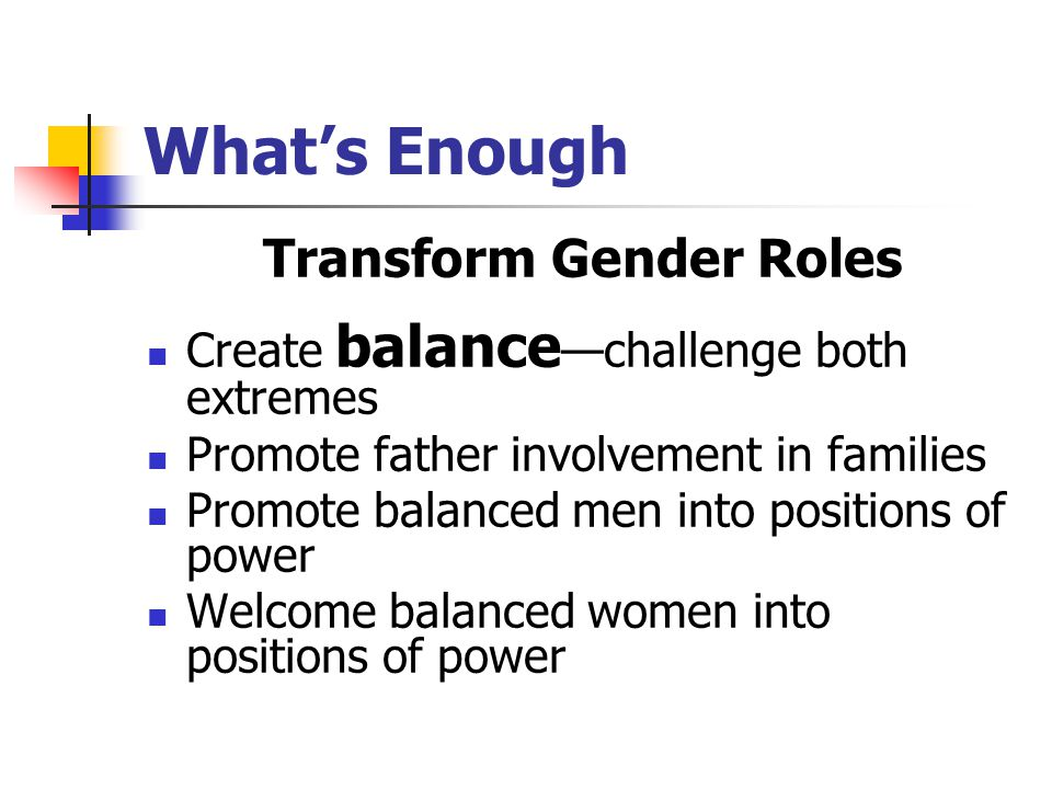 What's Enough Transform Gender Roles Create balance —challenge both extremes Promote father involvement in families Promote balanced men into positions of power Welcome balanced women into positions of power