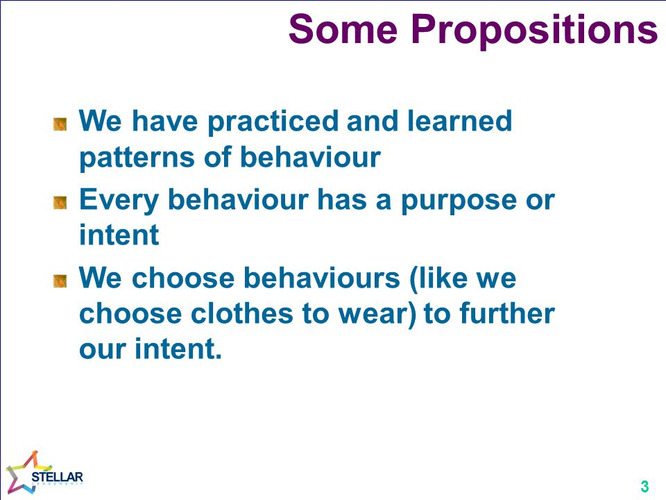 3 Some Propositions We have practiced and learned patterns of behaviour Every behaviour has a purpose or intent We choose behaviours (like we choose c