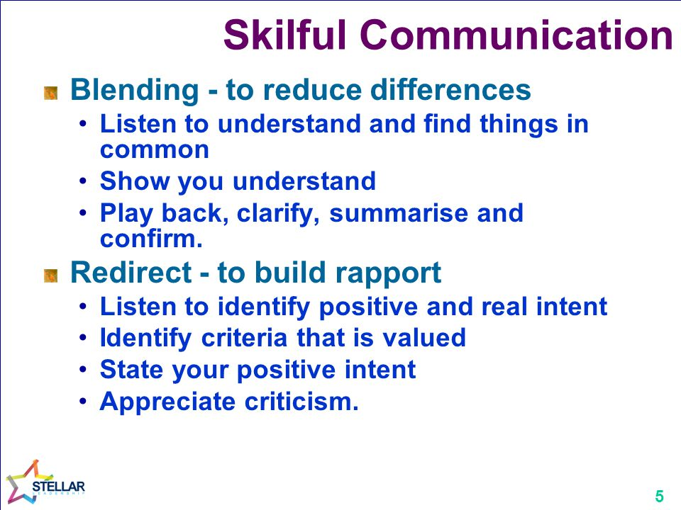 5 Skilful Communication Blending - to reduce differences Listen to understand and find things in common Show you understand Play back, clarify, summar