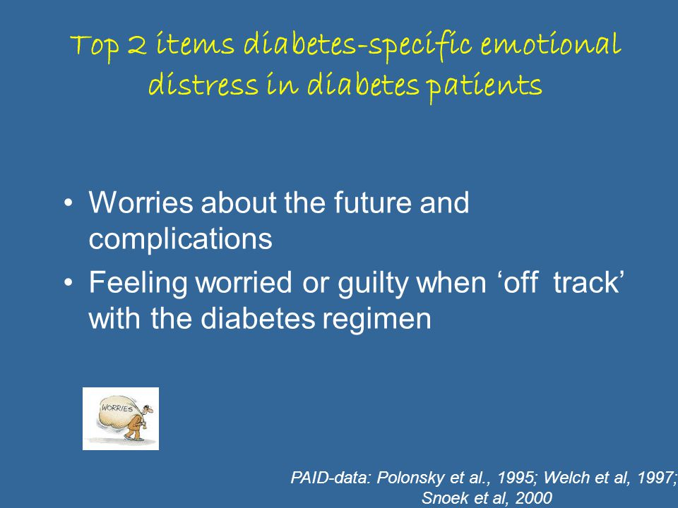 Top 2 items diabetes-specific emotional distress in diabetes patients Worries about the future and complications Feeling worried or guilty when 'off track' with the diabetes regimen PAID-data: Polonsky et al., 1995; Welch et al, 1997; Snoek et al, 2000