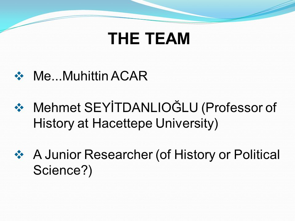 THE TEAM  Me...Muhittin ACAR  Mehmet SEYİTDANLIOĞLU (Professor of History at Hacettepe University)  A Junior Researcher (of History or Political Science )