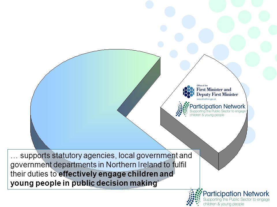 … supports statutory agencies, local government and government departments in Northern Ireland to fulfil their duties to effectively engage children and young people in public decision making'