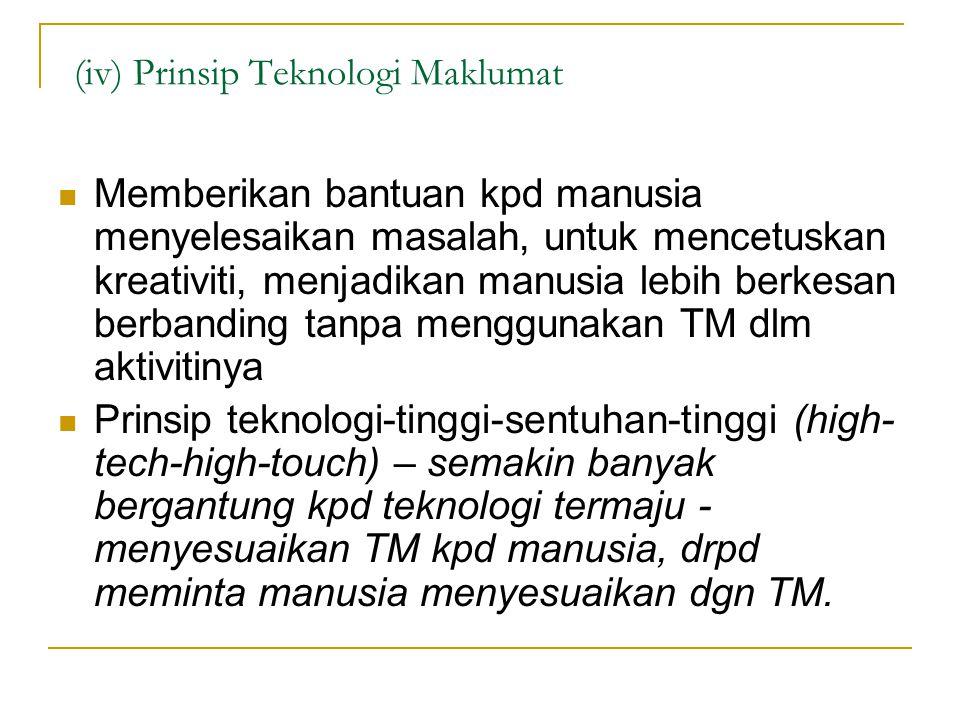 (iv) Prinsip Teknologi Maklumat Memberikan bantuan kpd manusia menyelesaikan masalah, untuk mencetuskan kreativiti, menjadikan manusia lebih berkesan berbanding tanpa menggunakan TM dlm aktivitinya Prinsip teknologi-tinggi-sentuhan-tinggi (high- tech-high-touch) – semakin banyak bergantung kpd teknologi termaju - menyesuaikan TM kpd manusia, drpd meminta manusia menyesuaikan dgn TM.