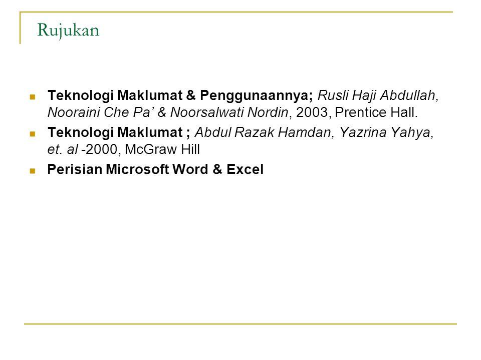 Rujukan Teknologi Maklumat & Penggunaannya; Rusli Haji Abdullah, Nooraini Che Pa' & Noorsalwati Nordin, 2003, Prentice Hall. Teknologi Maklumat ; Abdu