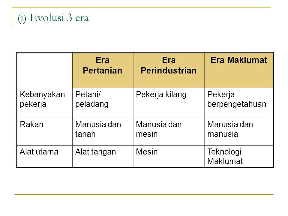 (i) Evolusi 3 era Era Pertanian Era Perindustrian Era Maklumat Kebanyakan pekerja Petani/ peladang Pekerja kilangPekerja berpengetahuan RakanManusia d