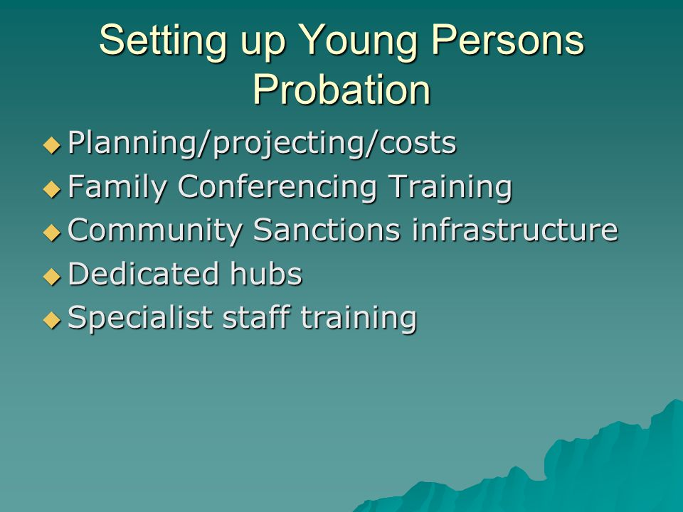 Setting up Young Persons Probation  Planning/projecting/costs  Family Conferencing Training  Community Sanctions infrastructure  Dedicated hubs  Specialist staff training