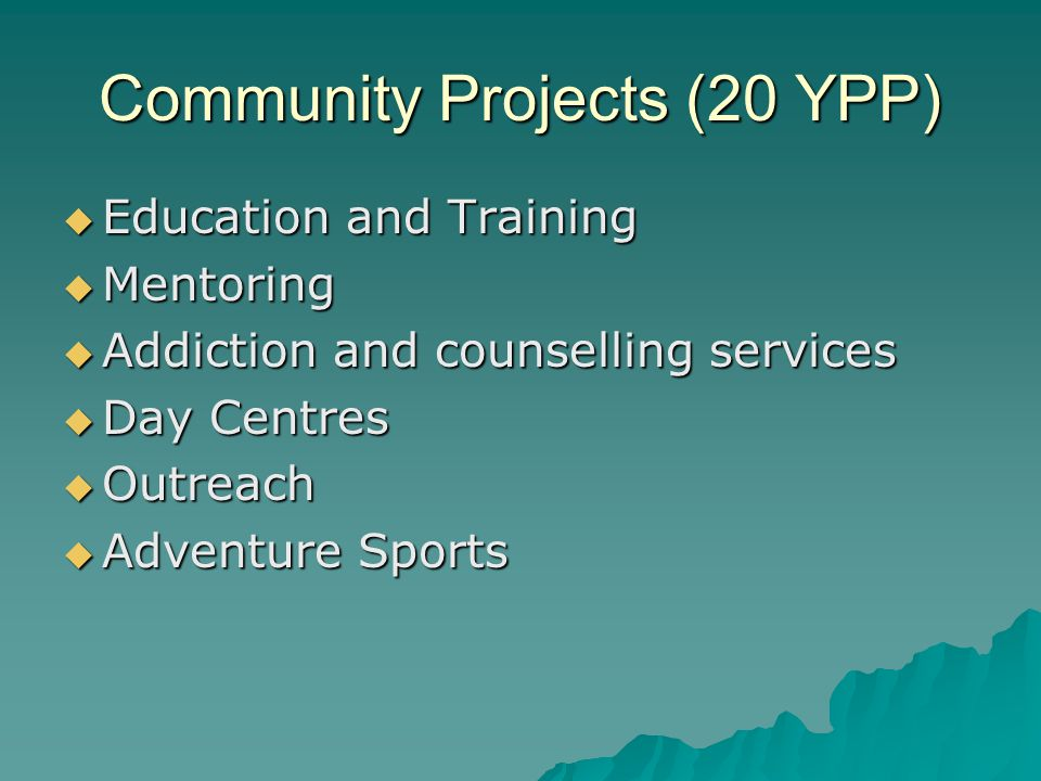 Community Projects (20 YPP)  Education and Training  Mentoring  Addiction and counselling services  Day Centres  Outreach  Adventure Sports