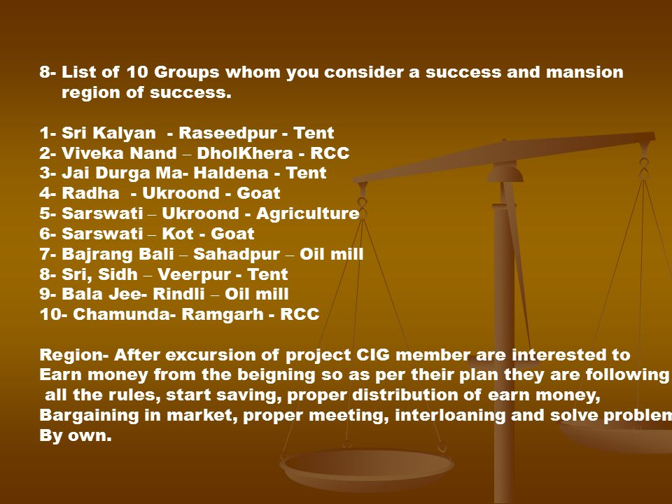 8- List of 10 Groups whom you consider a success and mansion region of success.