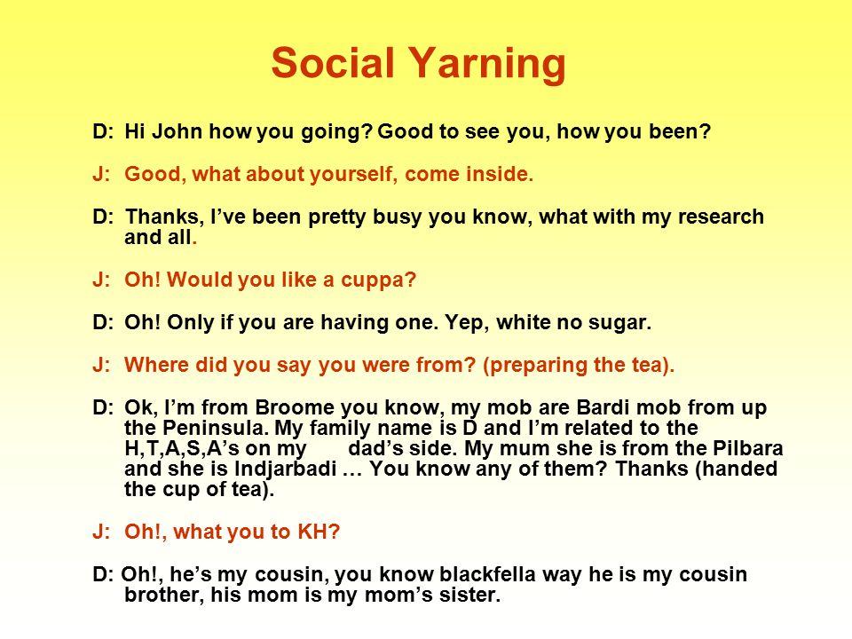 Social Yarning B: Dumela mma.Ke kopa gobona Mma Thabiso.