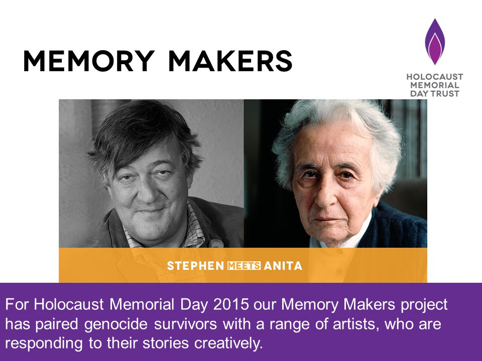 For Holocaust Memorial Day 2015 our Memory Makers project has paired genocide survivors with a range of artists, who are responding to their stories creatively.