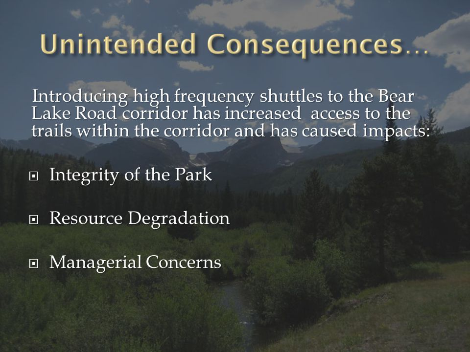 Develop approaches to explicitly integrate transportation and user capacity planning in parks and public lands