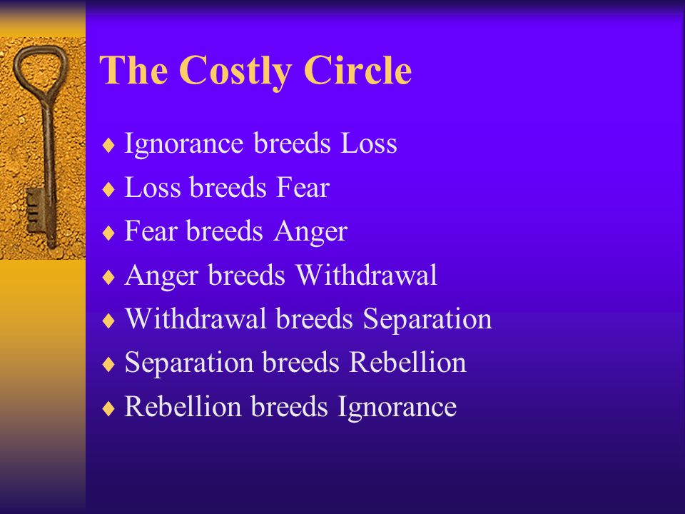 The Costly Circle  Ignorance breeds Loss  Loss breeds Fear  Fear breeds Anger  Anger breeds Withdrawal  Withdrawal breeds Separation  Separation breeds Rebellion  Rebellion breeds Ignorance